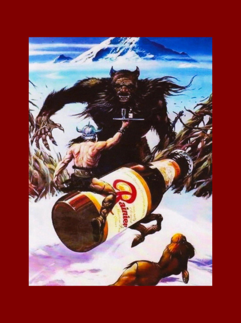 Vintage Rainier Beer Poster Bigfoot Ad Wall Art Print