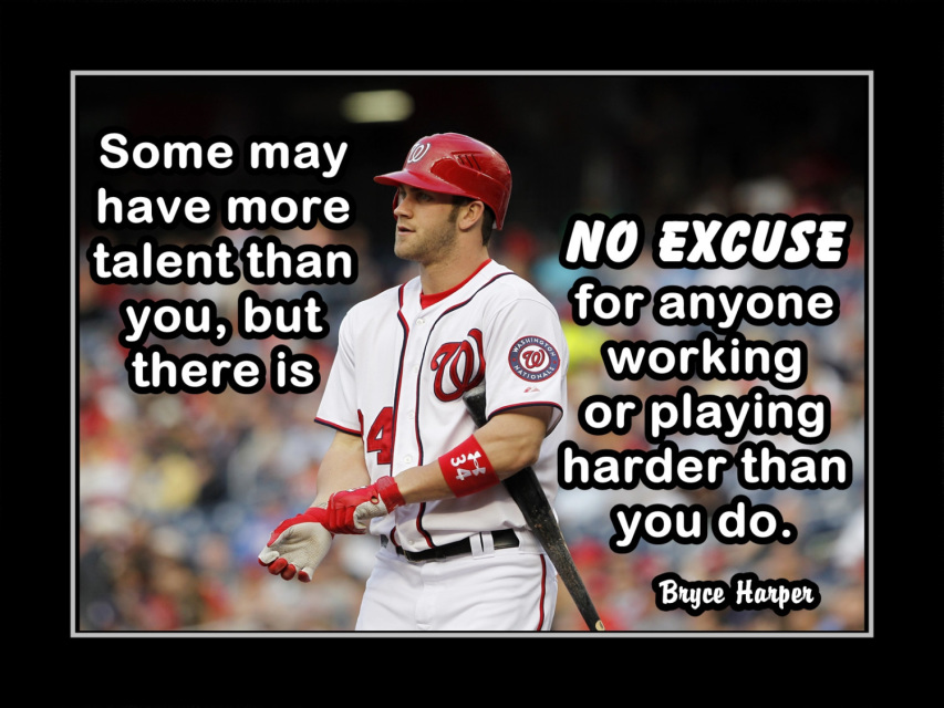 Bryce Harper Baseball Inspirational Poster, Gift, Motivation Quote Wall  Art, Son, Daughter Wall Decor, No Excuse, Free Ship