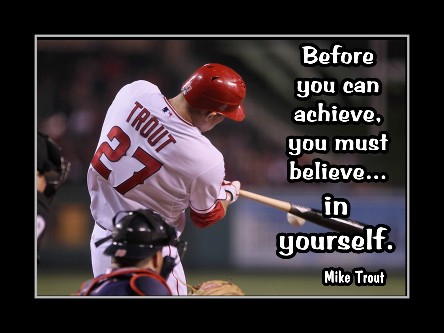 """Baseball Quote Arleyart Mike Trout Baseball """"believe In Yourself"""" Motivation"""