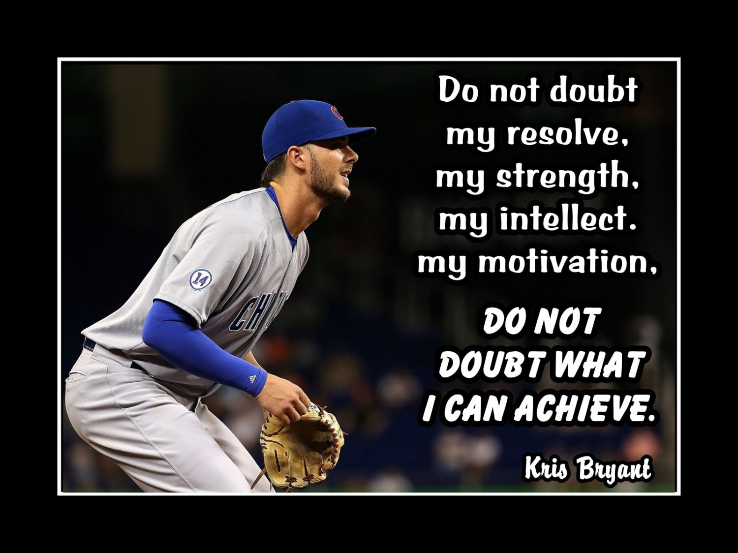 Kris Bryant Baseball Motivation Poster, Inspirational Quote Wall Art, Son  Wall Decor, Do Not Doubt My Resolve, Free Ship