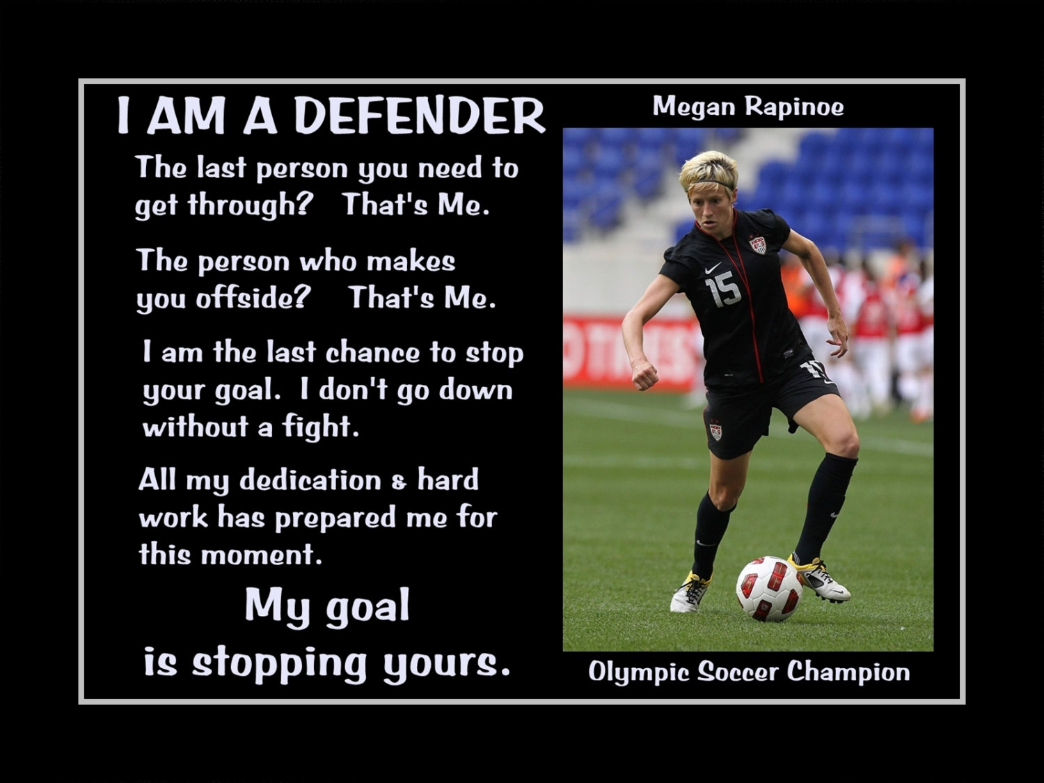 Soccer Quote Arleyart Megan Rapinoe Soccer Defender Motivation Poster